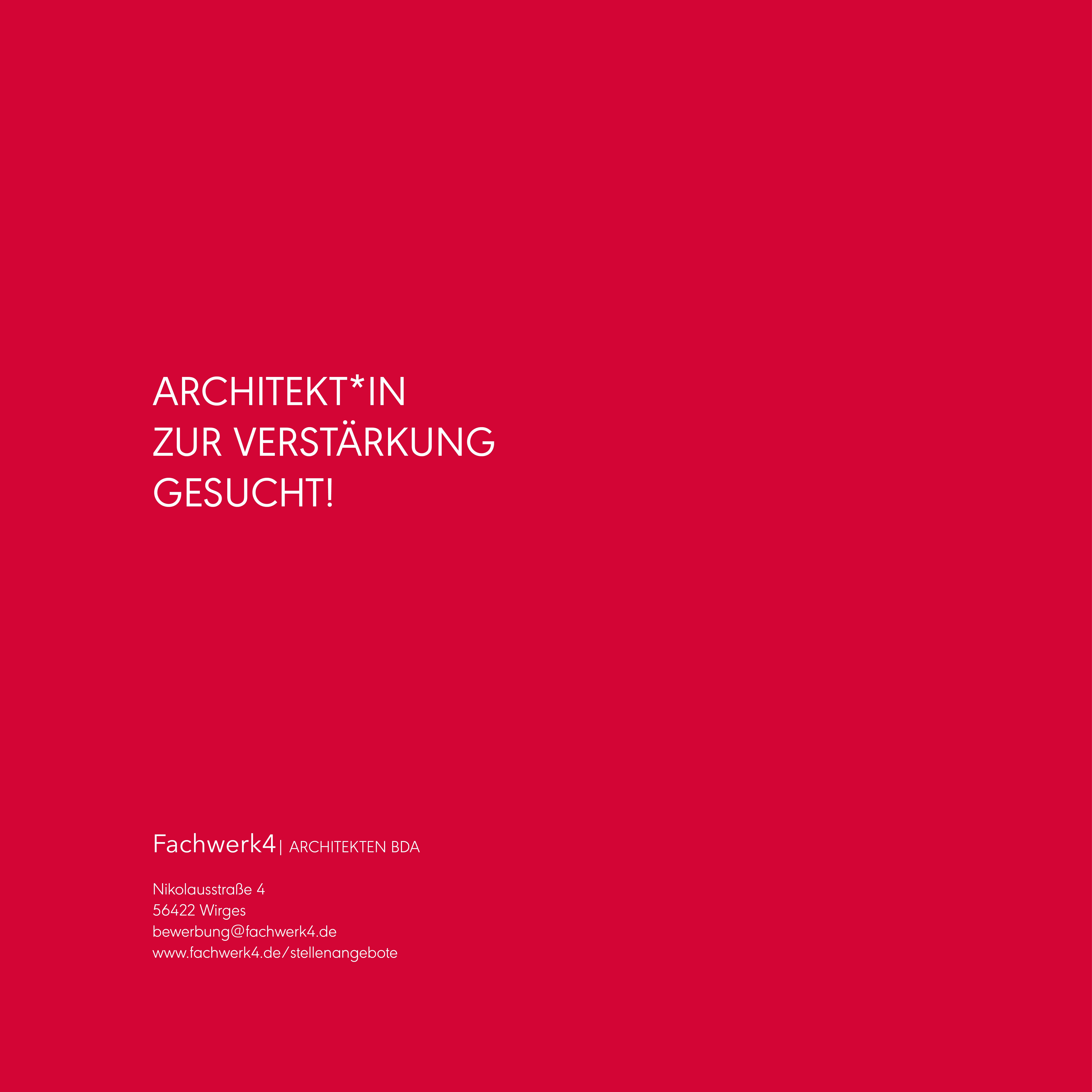 Wir suchen eine*n Architekt*in für unser Architekturbüro in Wirges bei Montabaur, Rheinland-Pfalz | Fachwerk4 | Architekten BDA